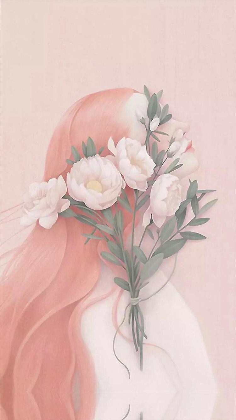 手绘 花朵 粉色