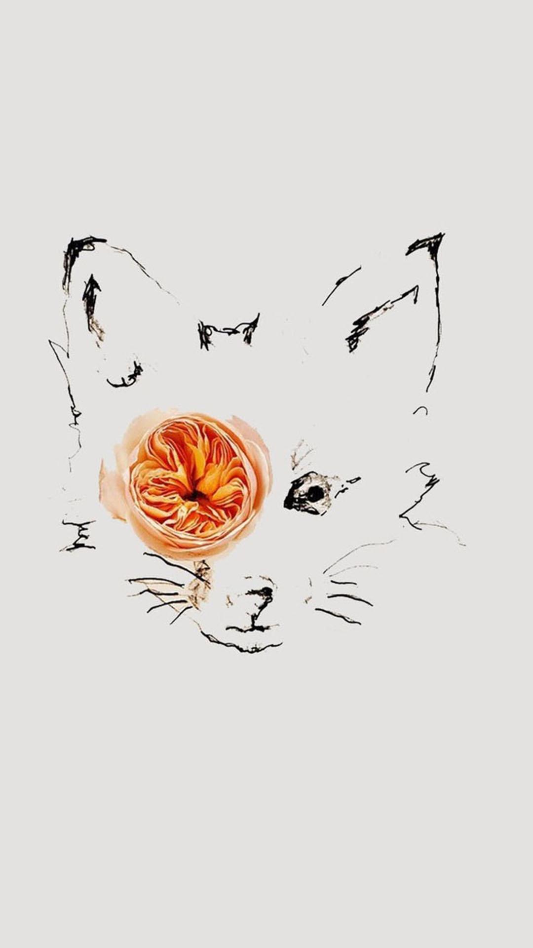 鲜花摆拍 手绘狐狸