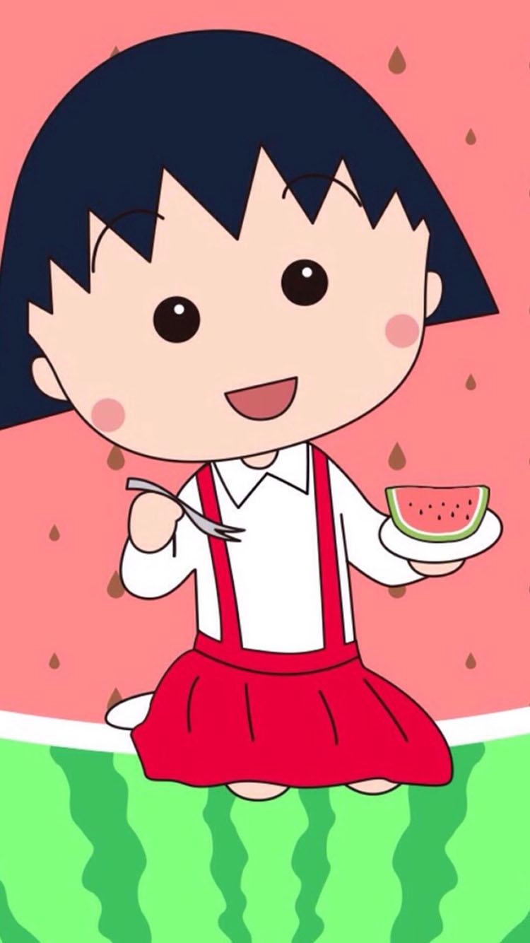 可爱的樱桃小丸子 吃西瓜蛋糕