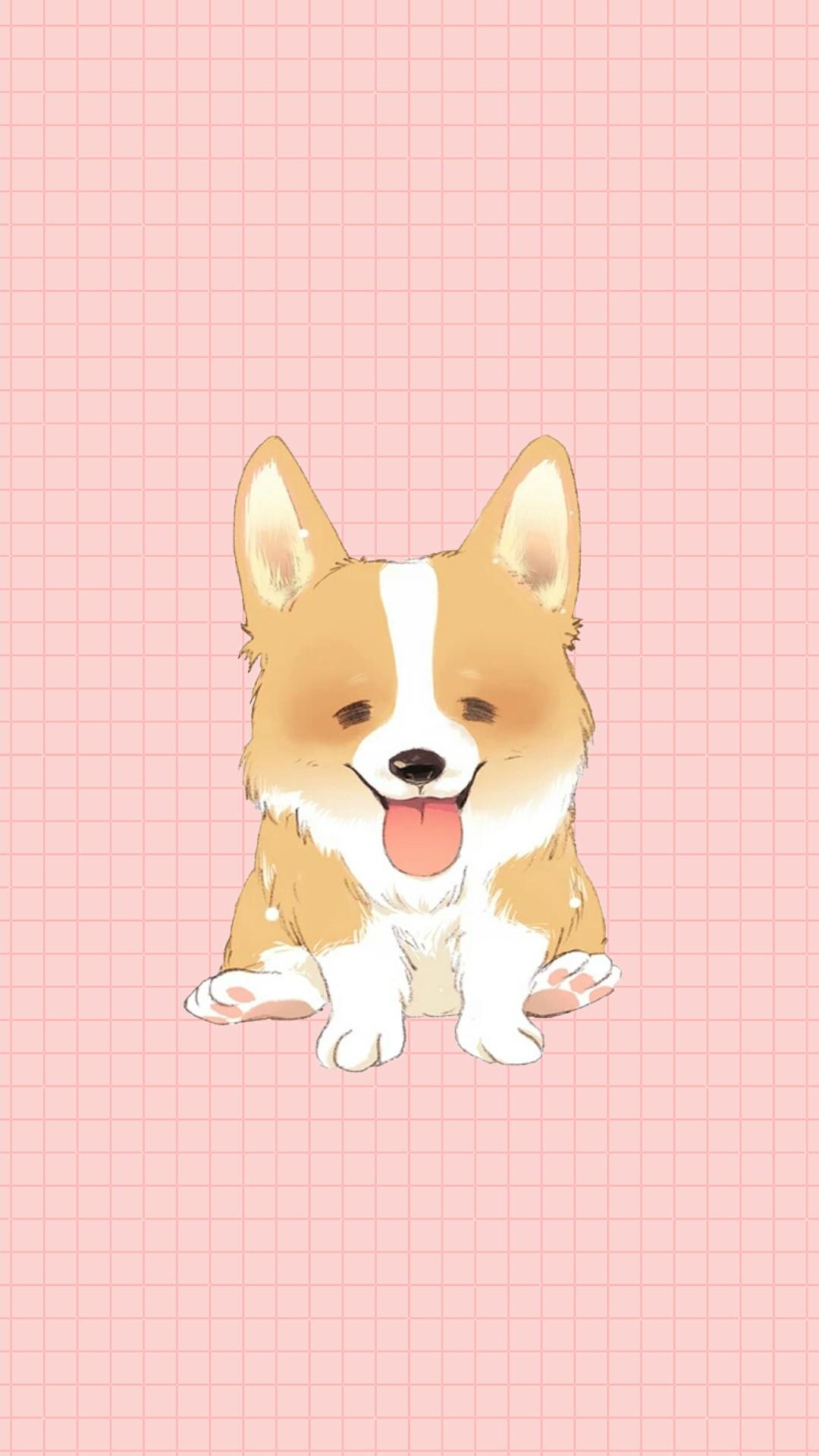 柯基 粉色 手绘 狗 萌宠 可爱