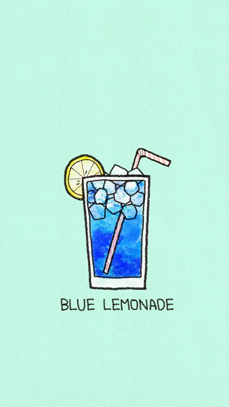 蓝柠檬 冰茶 手绘 创意
