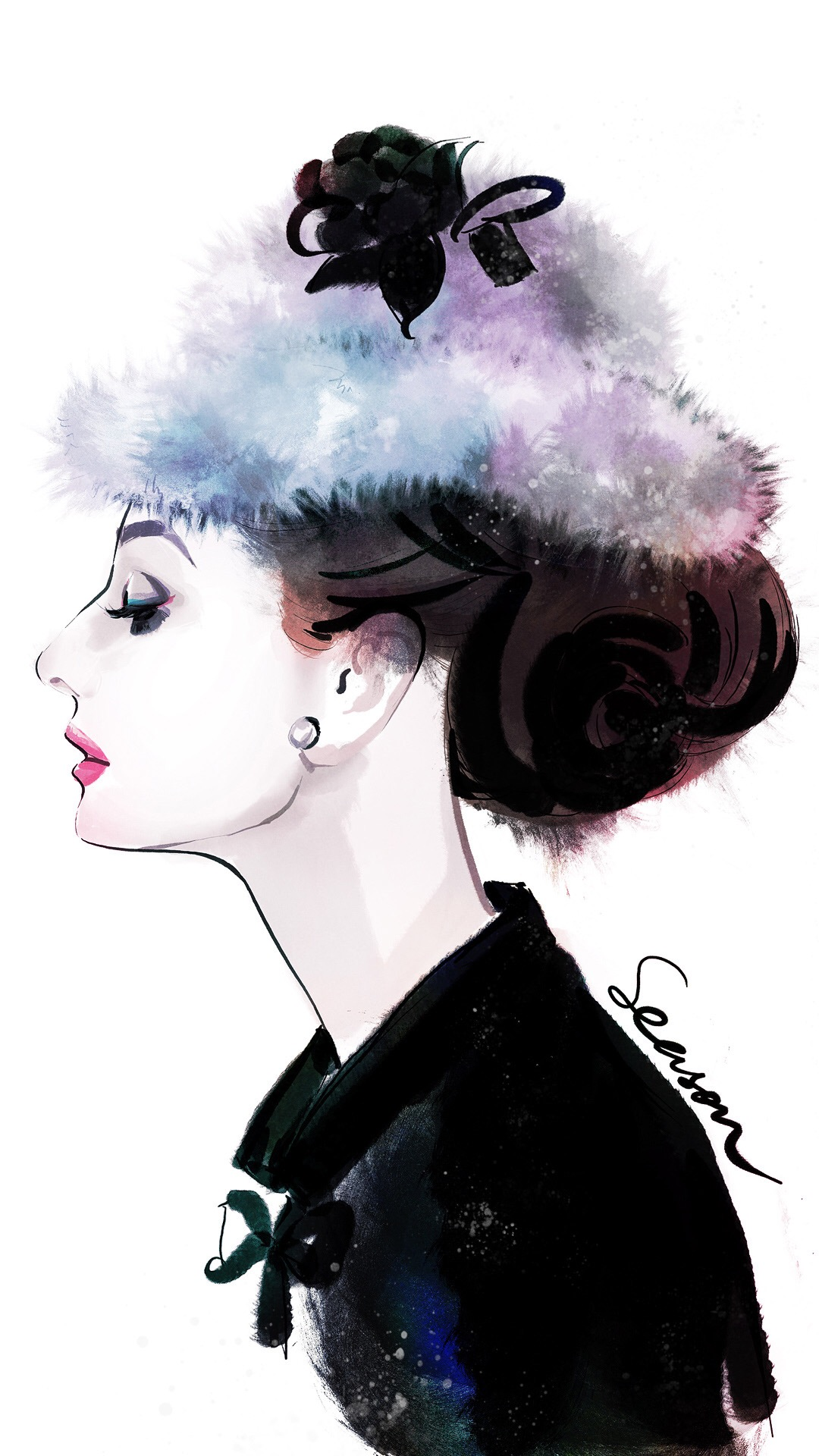 奥黛丽赫本 手绘 演员 美女 苹果手机高清壁纸 1080x