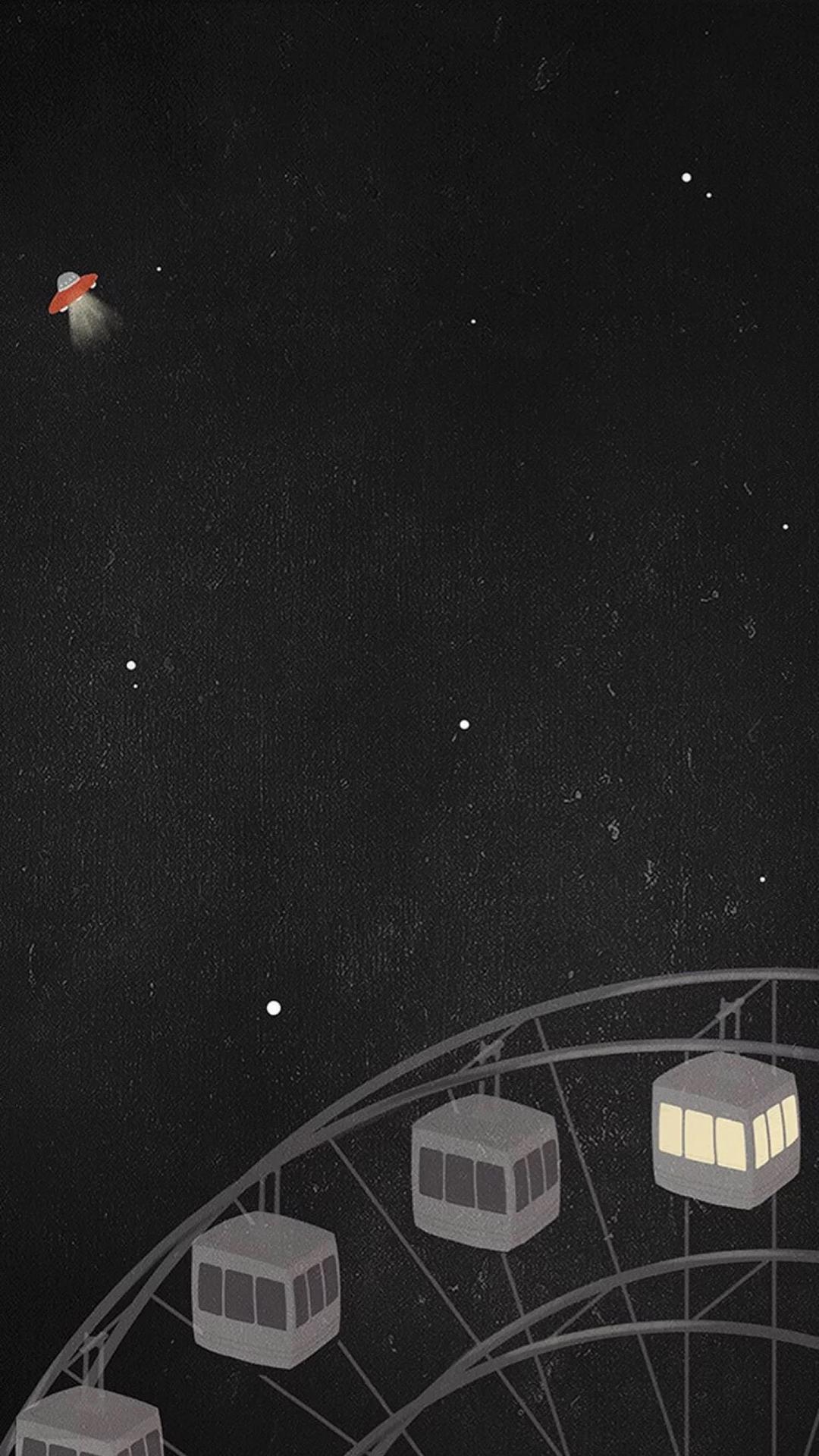 摩天轮 手绘 黑白 黑夜 飞船 星空