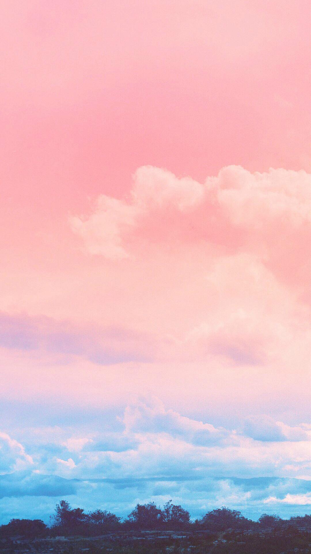 天空 粉色 蓝色 浪漫 云朵 云层 渐变 苹果手机高清 x