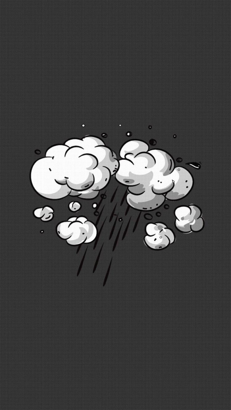 黑色格子背景 手绘云朵 下雨