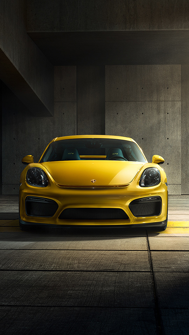 黄色 保时捷 名车 豪车 苹果手机高清壁纸 640x1136