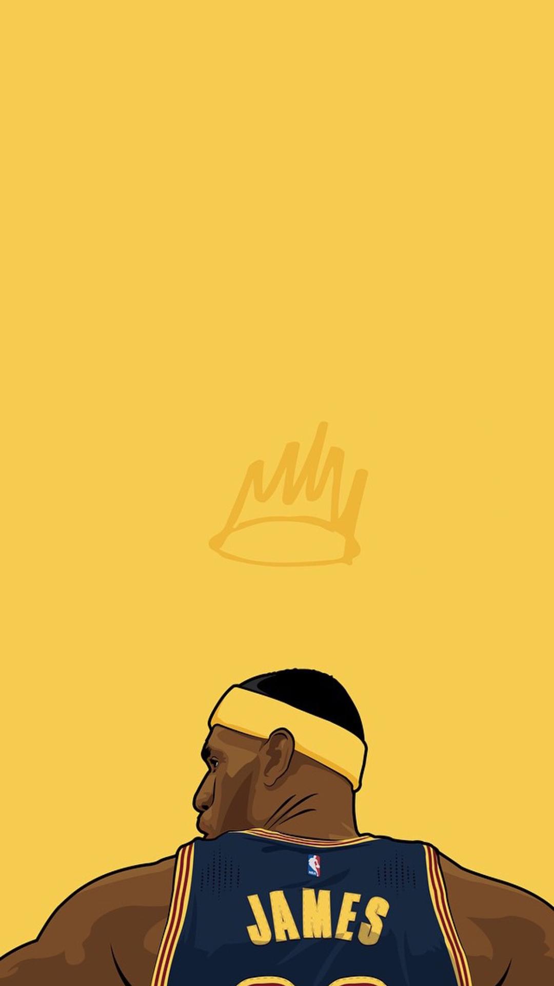 电脑上wap网:詹姆斯 手绘 背影 黄色 篮球 运动员 体育 苹果手机高清