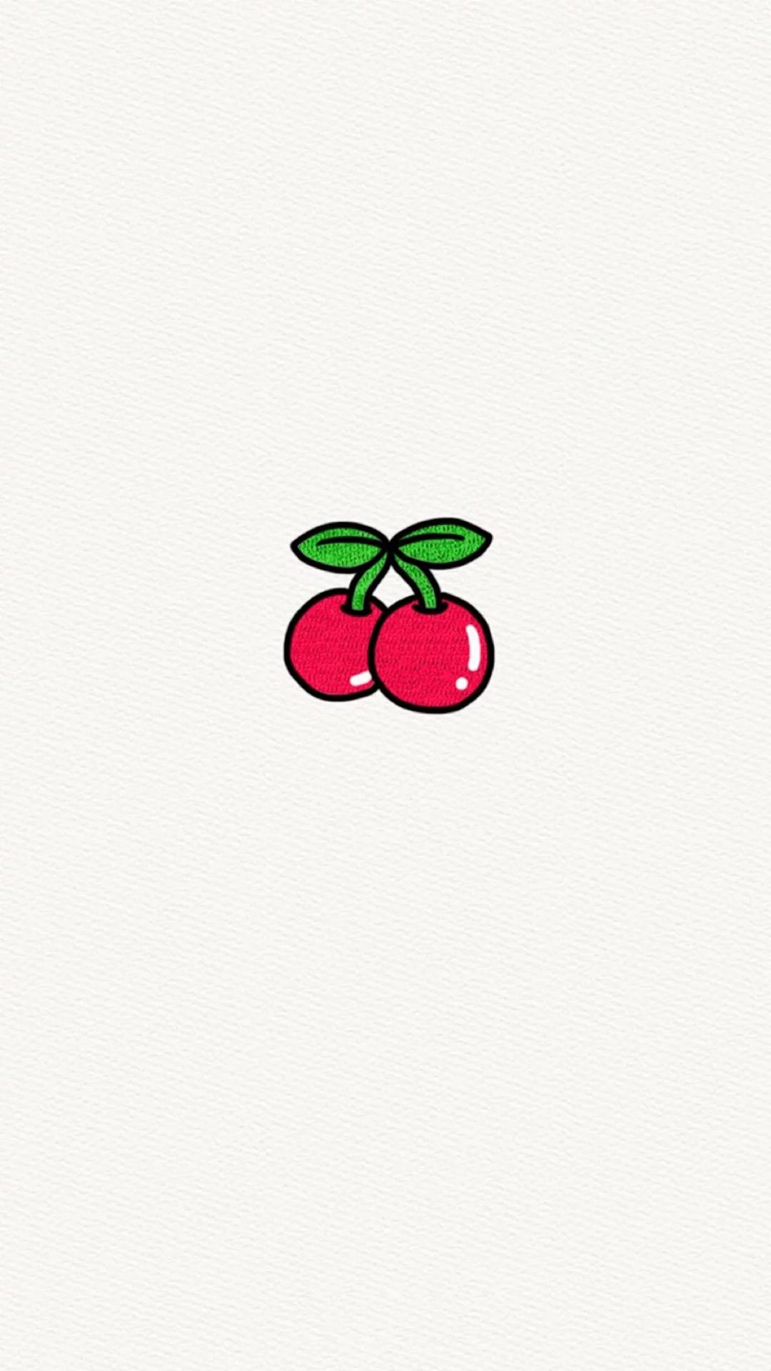 樱桃 车厘子 简笔画 手绘 水果