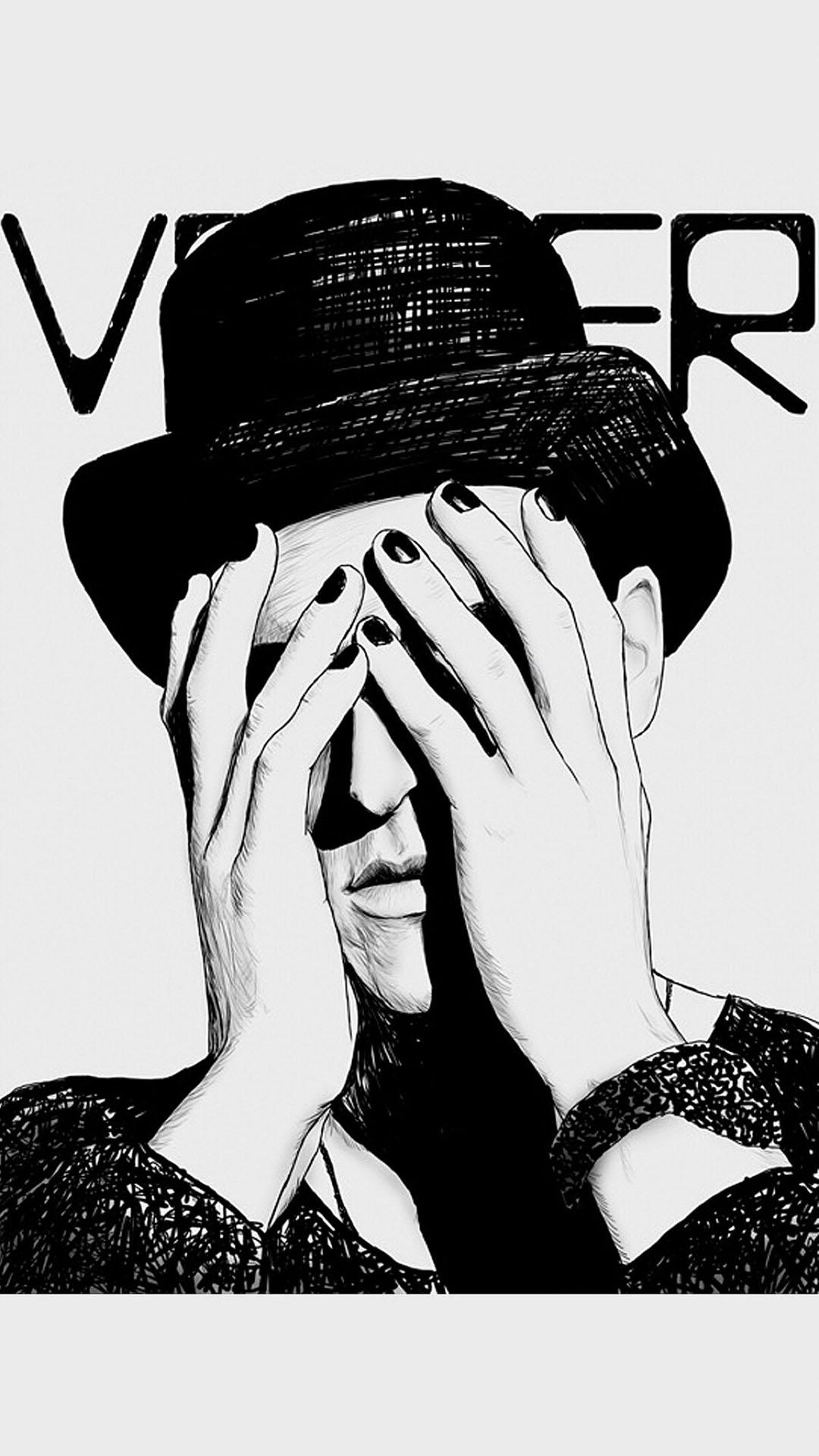 捂脸 帽子 黑白 男 手绘