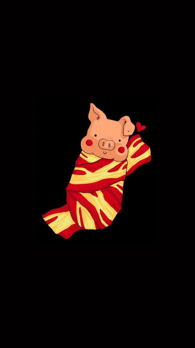 黑色背景 一只可爱的小猪