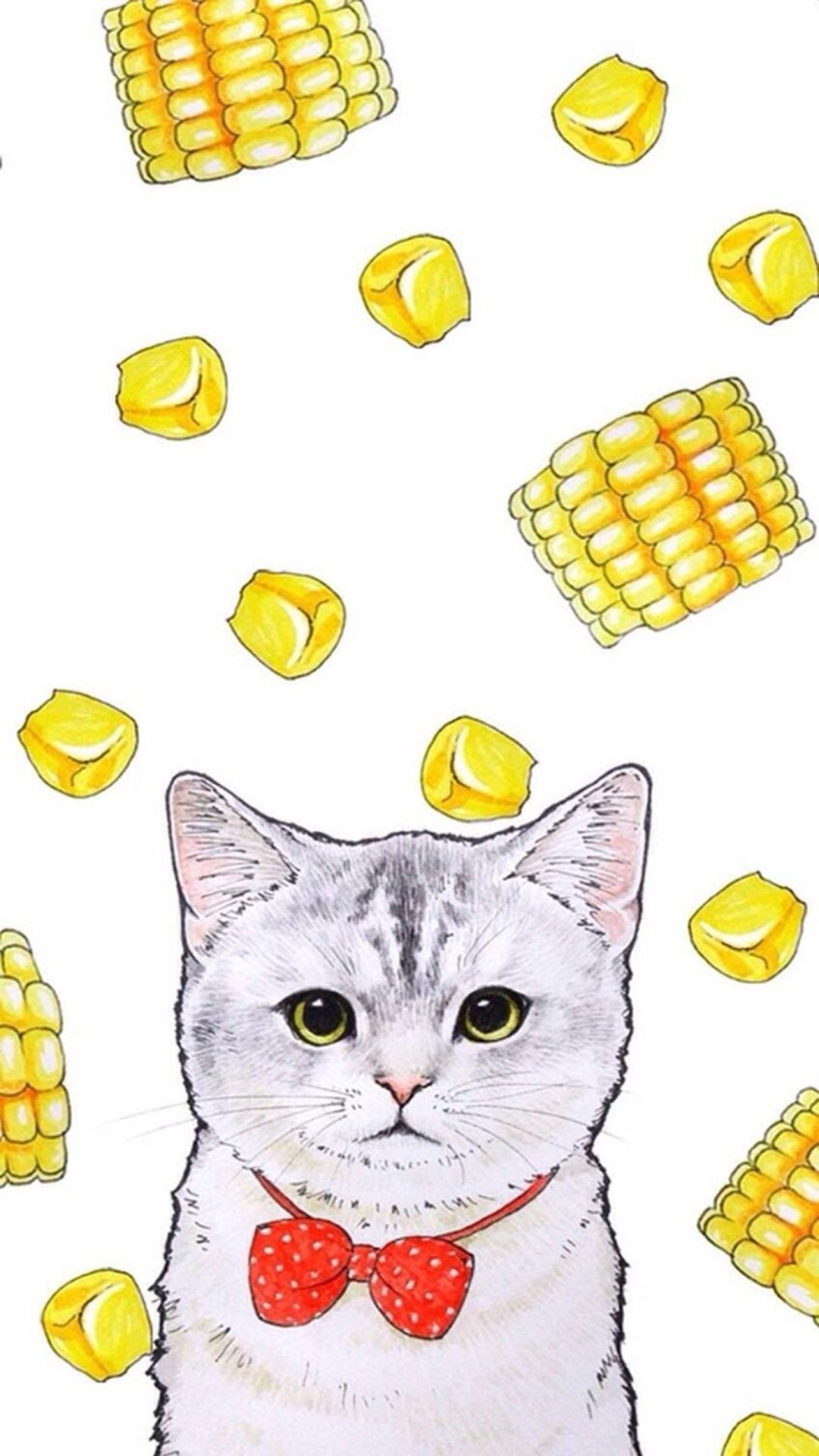 手绘猫咪 玉米