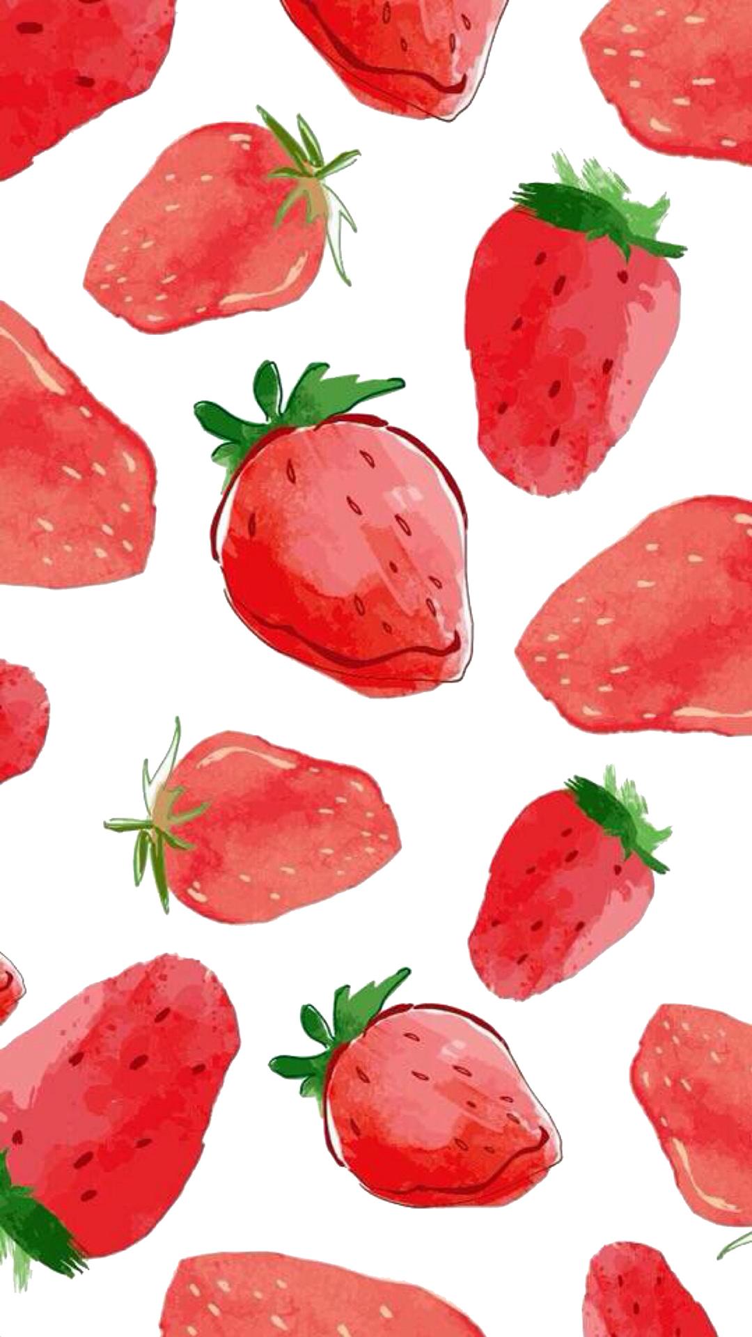 手绘 创意 草莓 水果 红色 苹果手机高清壁纸 1080x