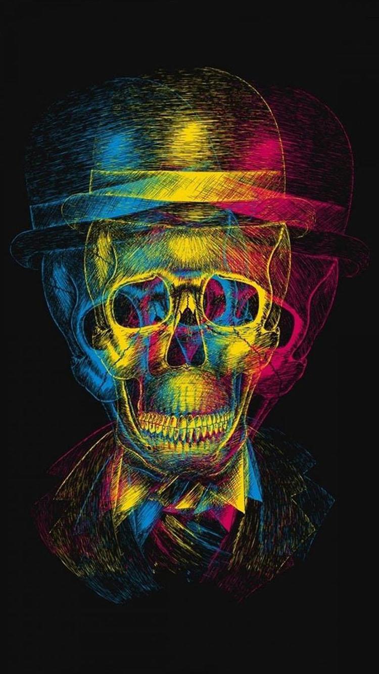 创意 抽象 骷髅头 彩色 手绘
