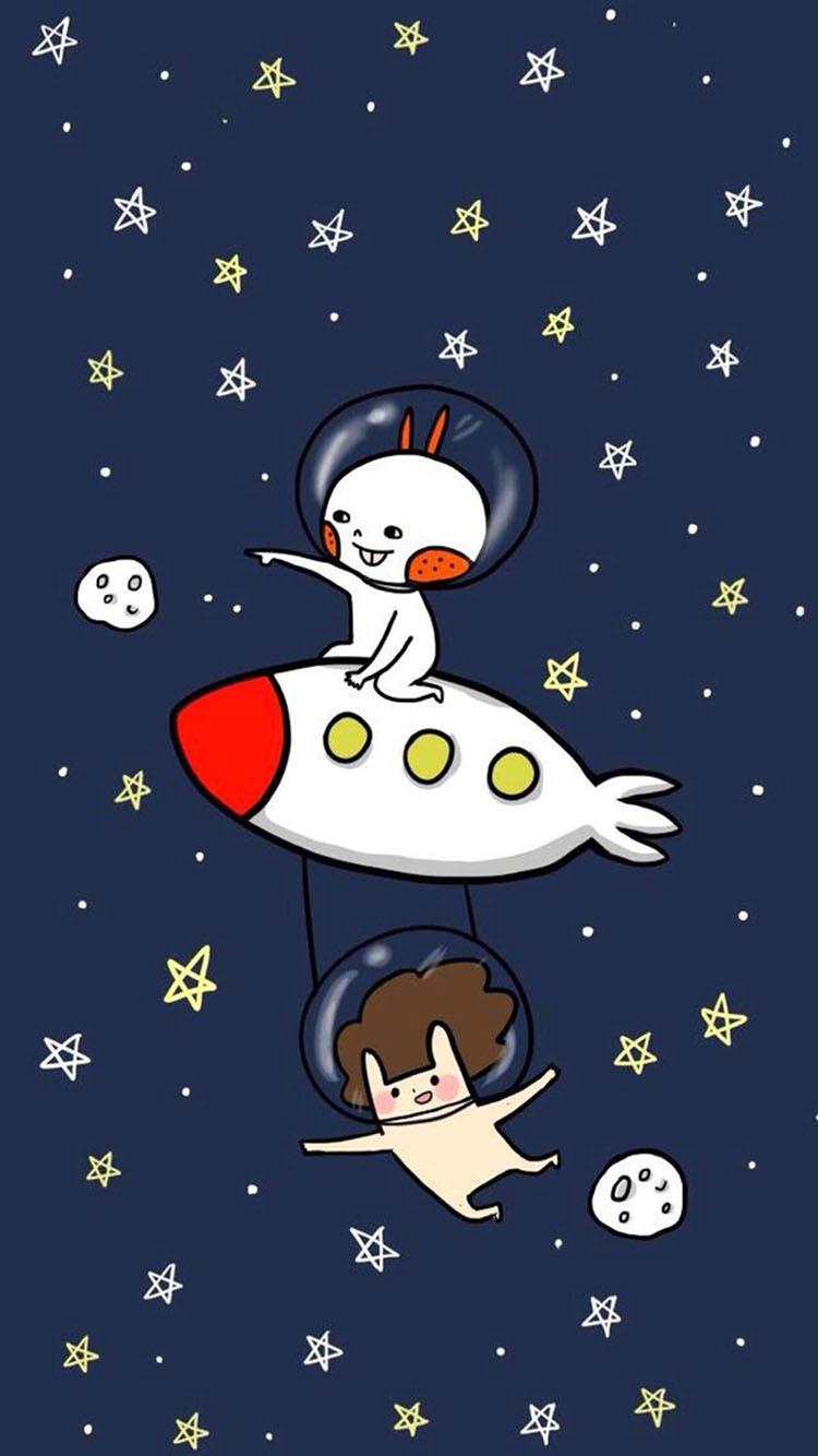 可爱卡通插画 火箭 兔子 星星