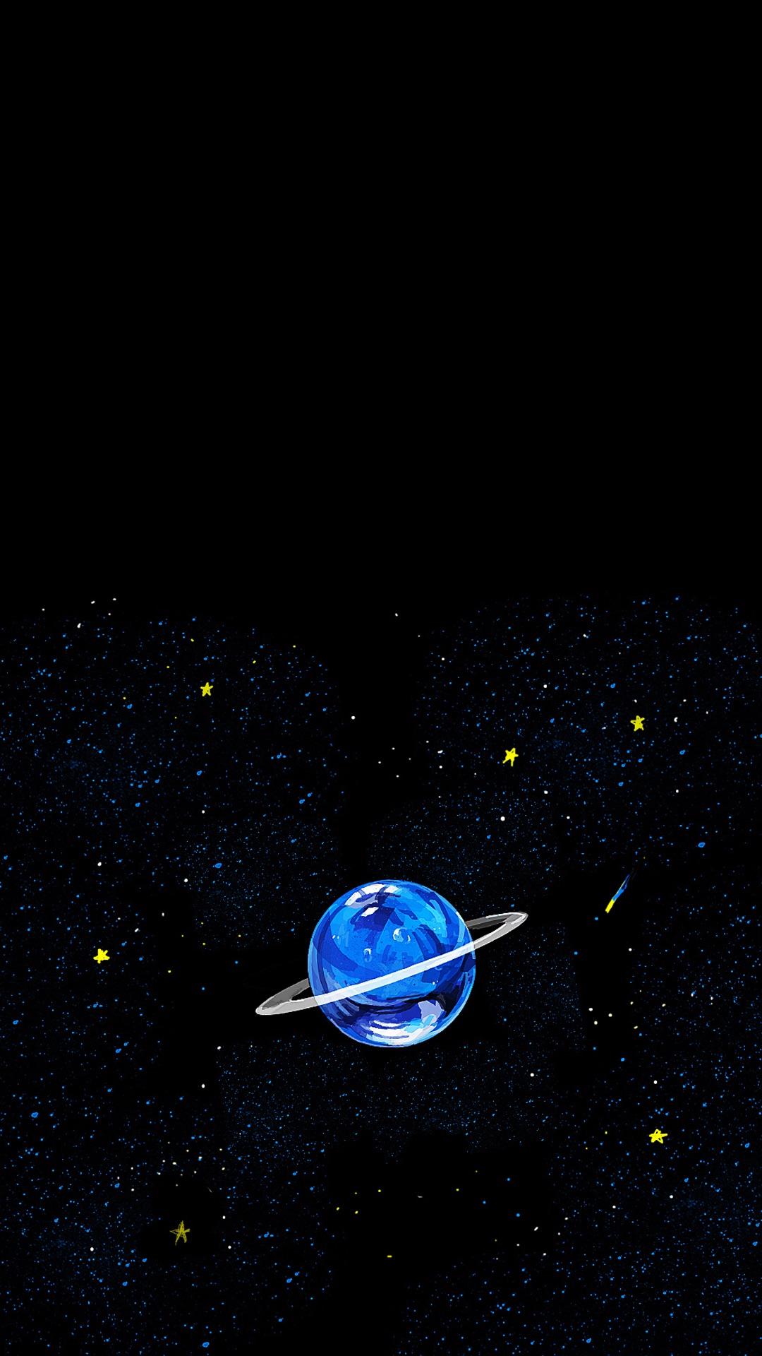 地球 宇宙 手绘 黑色 星空