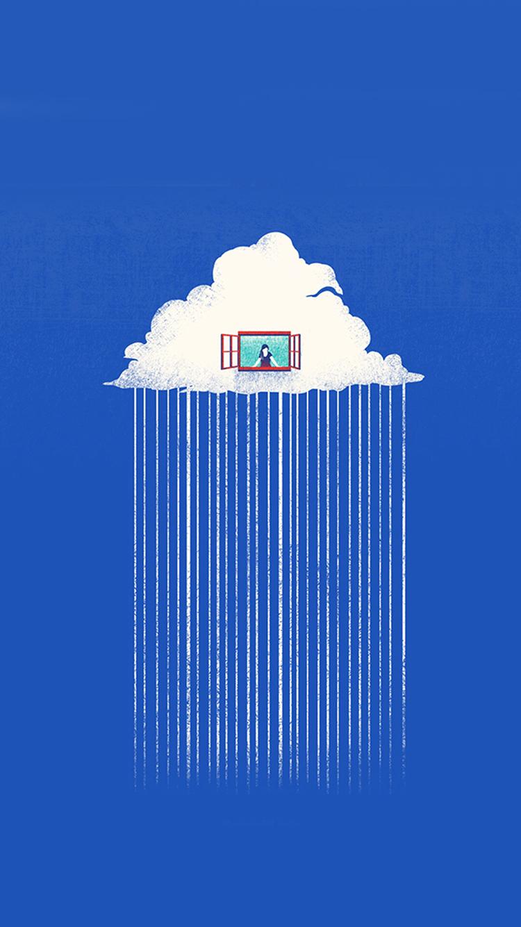 创意 下雨 手绘 蓝色 白云 窗户