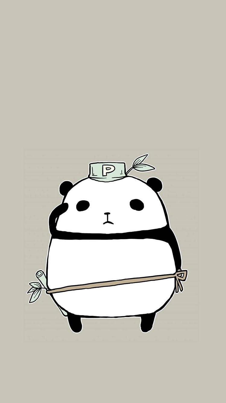 卡通 手绘 熊猫 竹子 灰