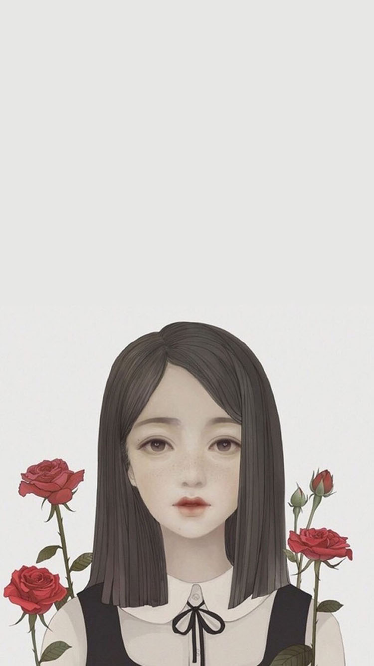 情侣 爱情 插画 手绘 苹果手机高清壁纸 750x1334