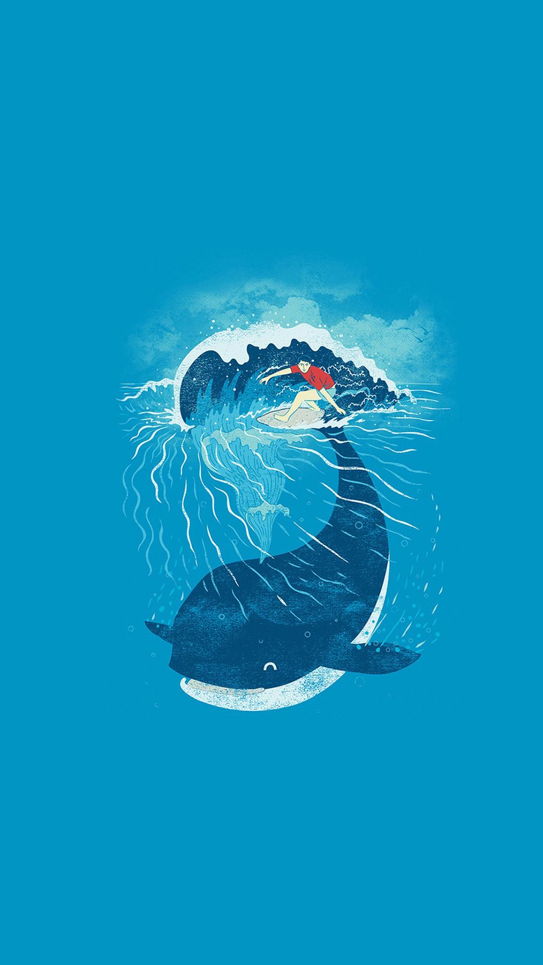 鲸鱼 滑板 插画 大海 海浪 蓝色 苹果手机高清壁纸 x