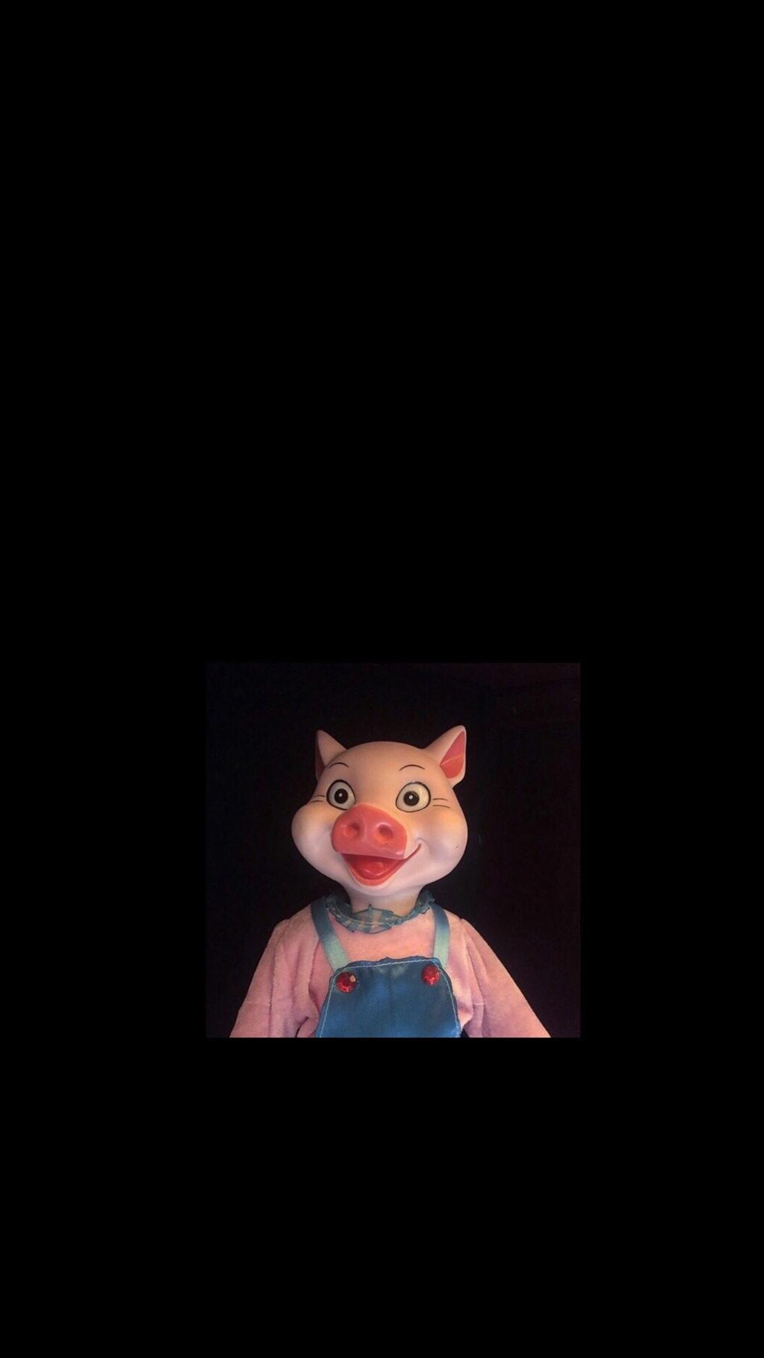 猪 猪头 粉色 黑色 动物 苹果手机高清壁纸 1080x1920