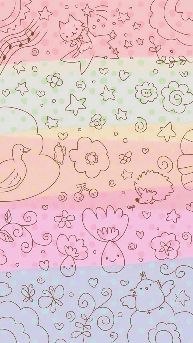 甜甜圈 黄色 粉红 苹果手机高清壁纸 750x1334_爱思
