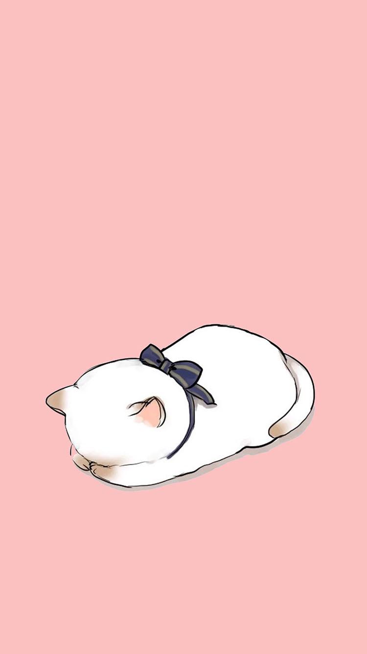 卡通 猫趴 粉蝴蝶结 苹果手机高清壁纸 750x1334_爱思