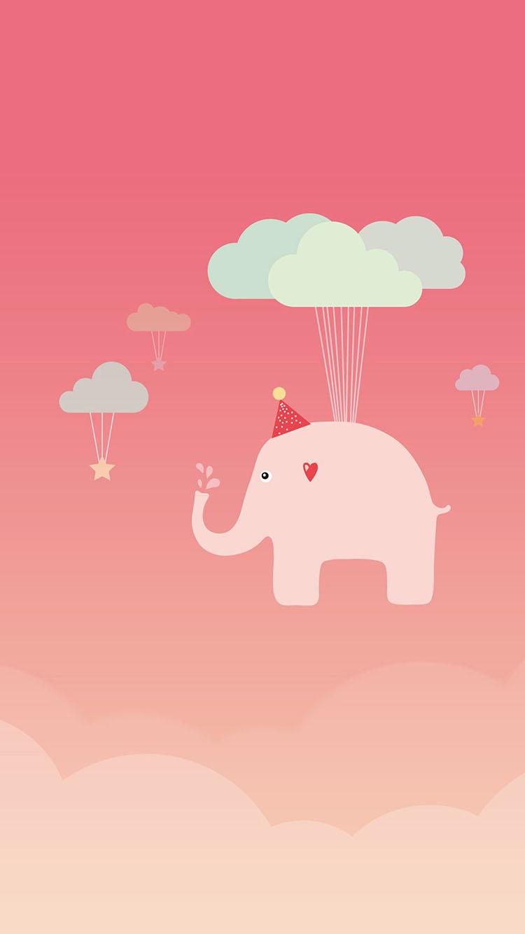 日本动漫 粉色 大象 云朵