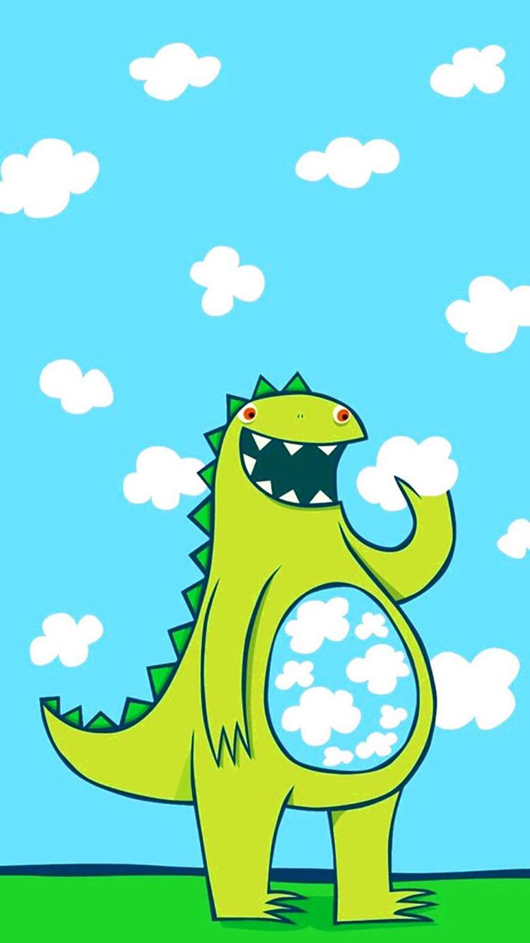 蓝天背景 可爱小恐龙