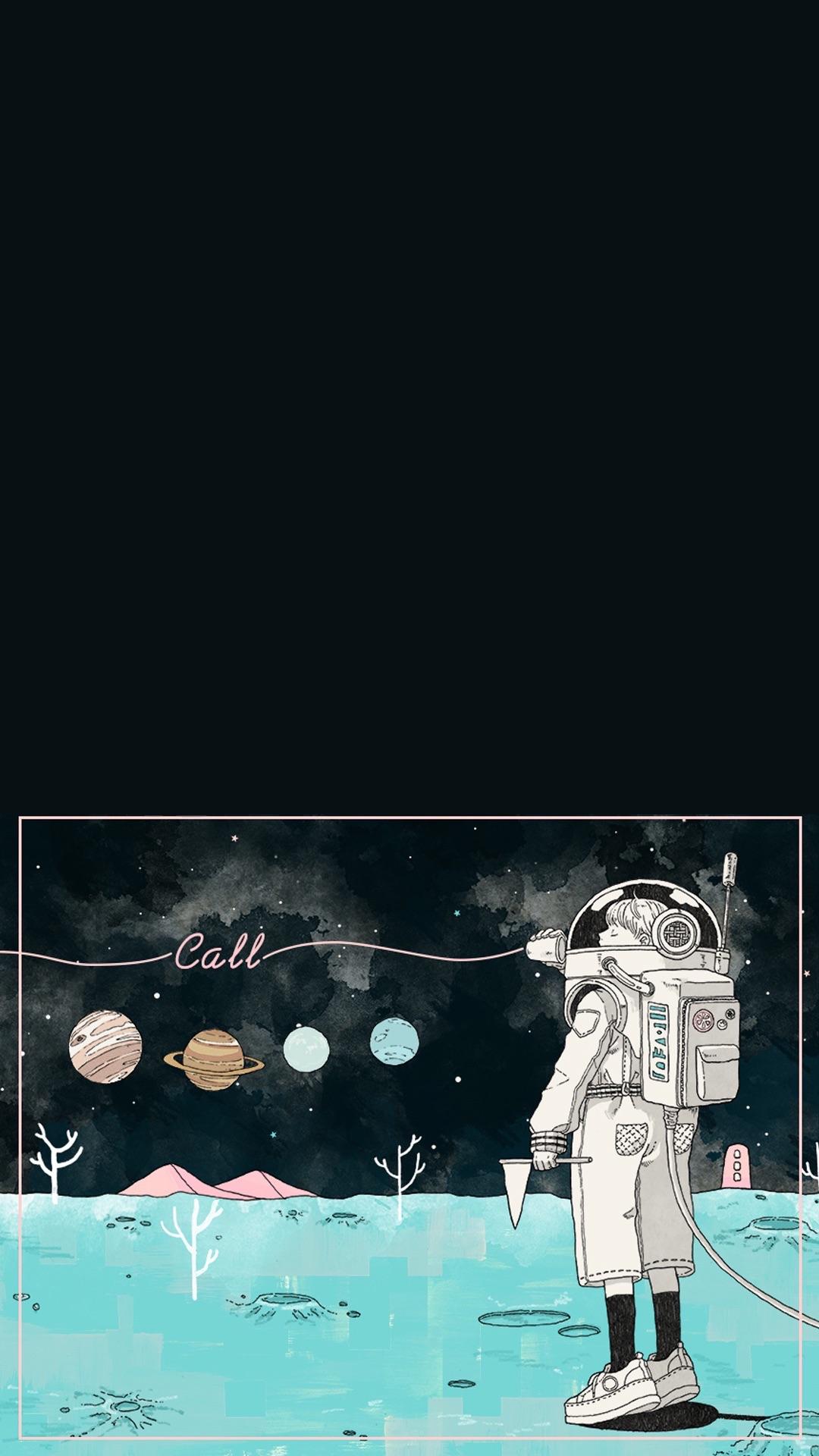 太空人 手绘 插画 宇宙 星球 黑色