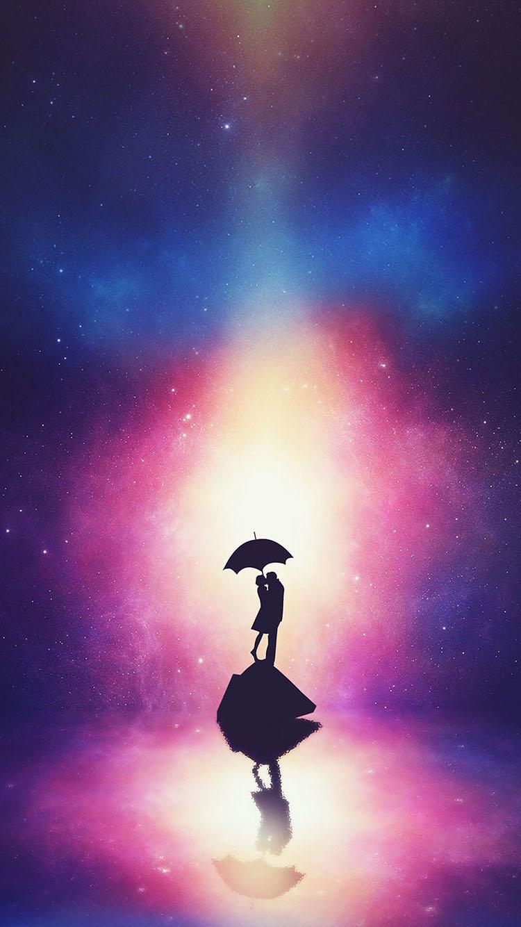 恋人 浪漫 唯美 雨伞 夜空 星空 苹果手机高清壁纸 x