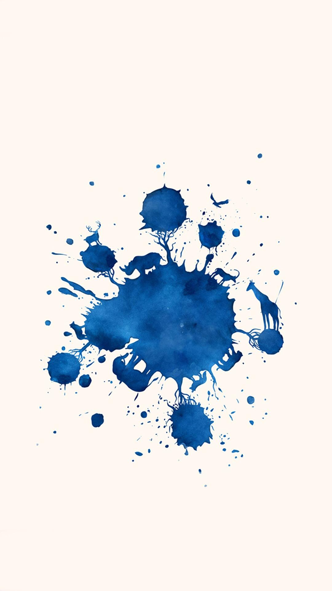 水墨 蓝色 白色 水墨画 苹果手机高清壁纸 1080x1920