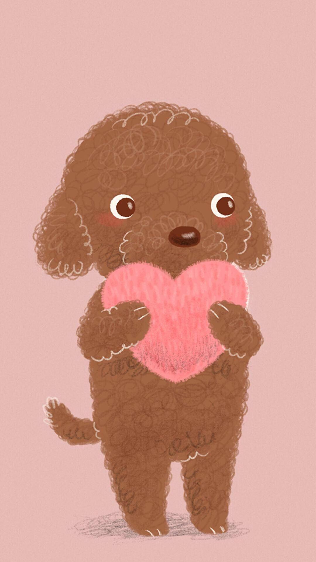 爱心 手绘 狗 粉色