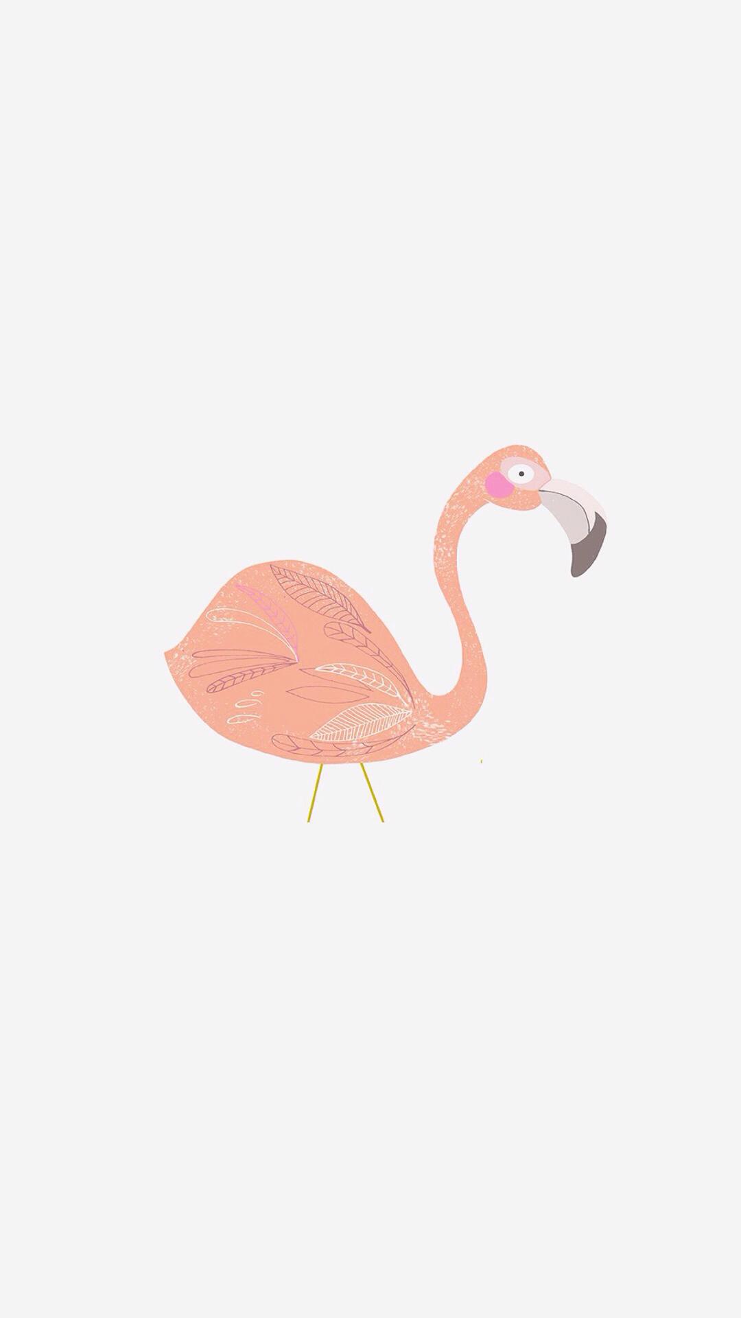火烈鸟 粉色 手绘 简约 白色