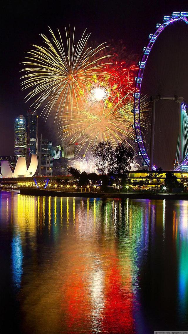 风景 城市 烟花 夜景 摩天轮 苹果手机高清壁纸 640x