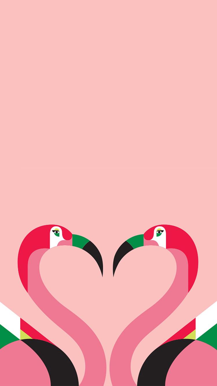 火烈鸟 粉色 爱心 平面