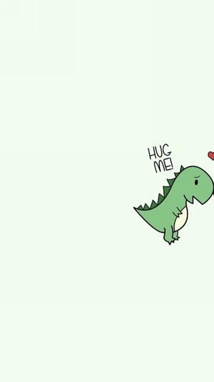 可爱 卡通 小恐龙 hugmei 苹果手机高清壁纸 750x1334
