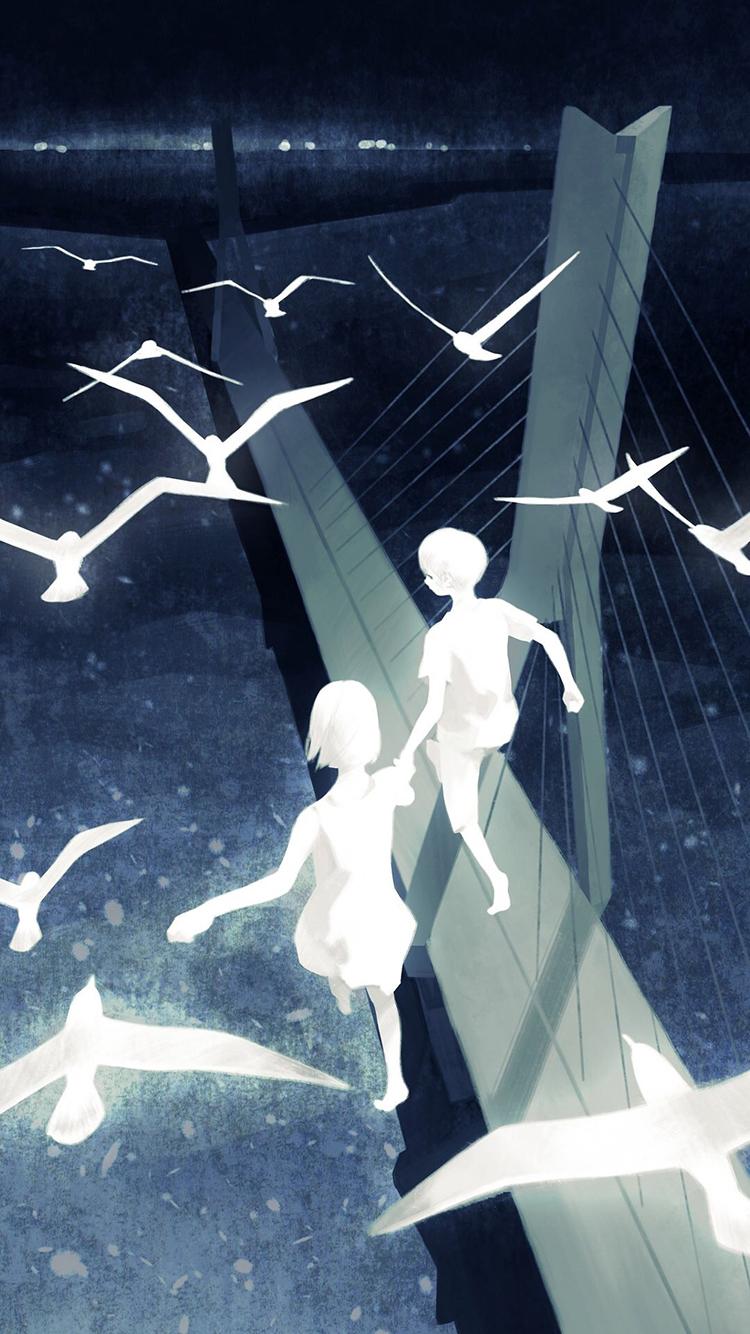 牵手 情侣 爱情 白鸽 手绘