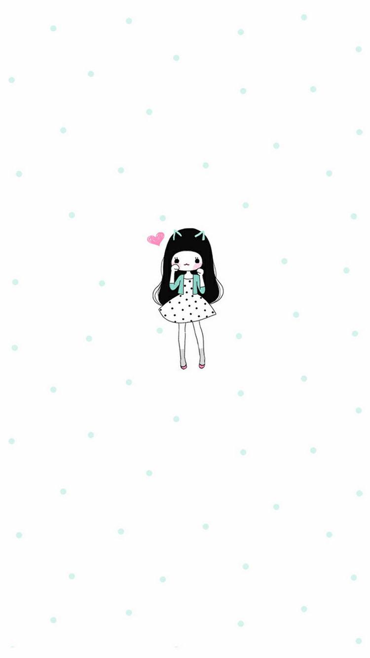 韩系可爱 卡通女孩小清新 苹果手机高清壁纸 750x1334