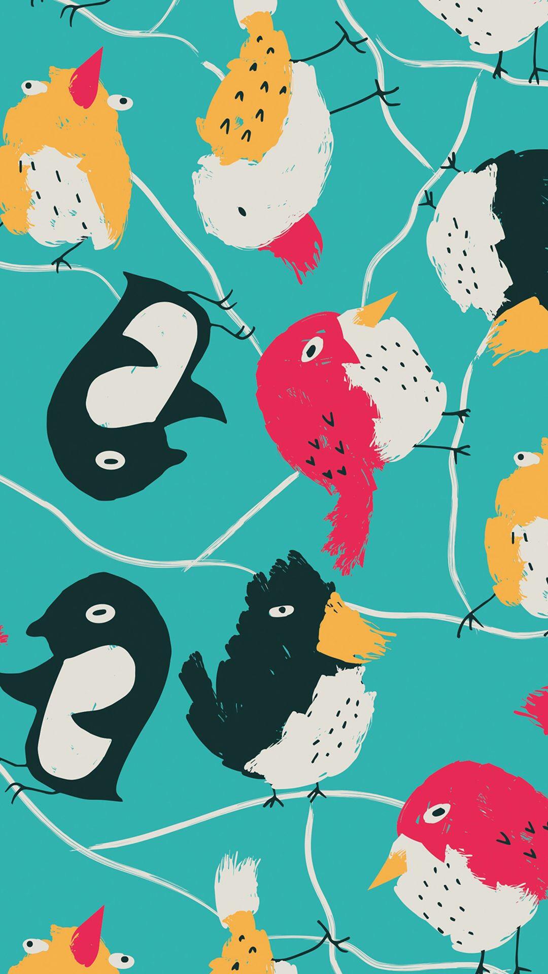 企鹅 鸟 手绘 插画 平铺 彩色 动物