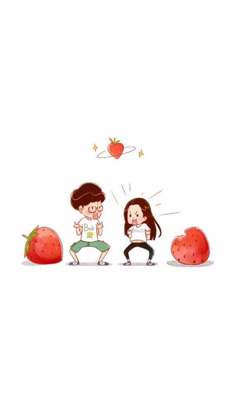 情侣 爱情 手绘 绘画 苹果手机高清壁纸 750x1334