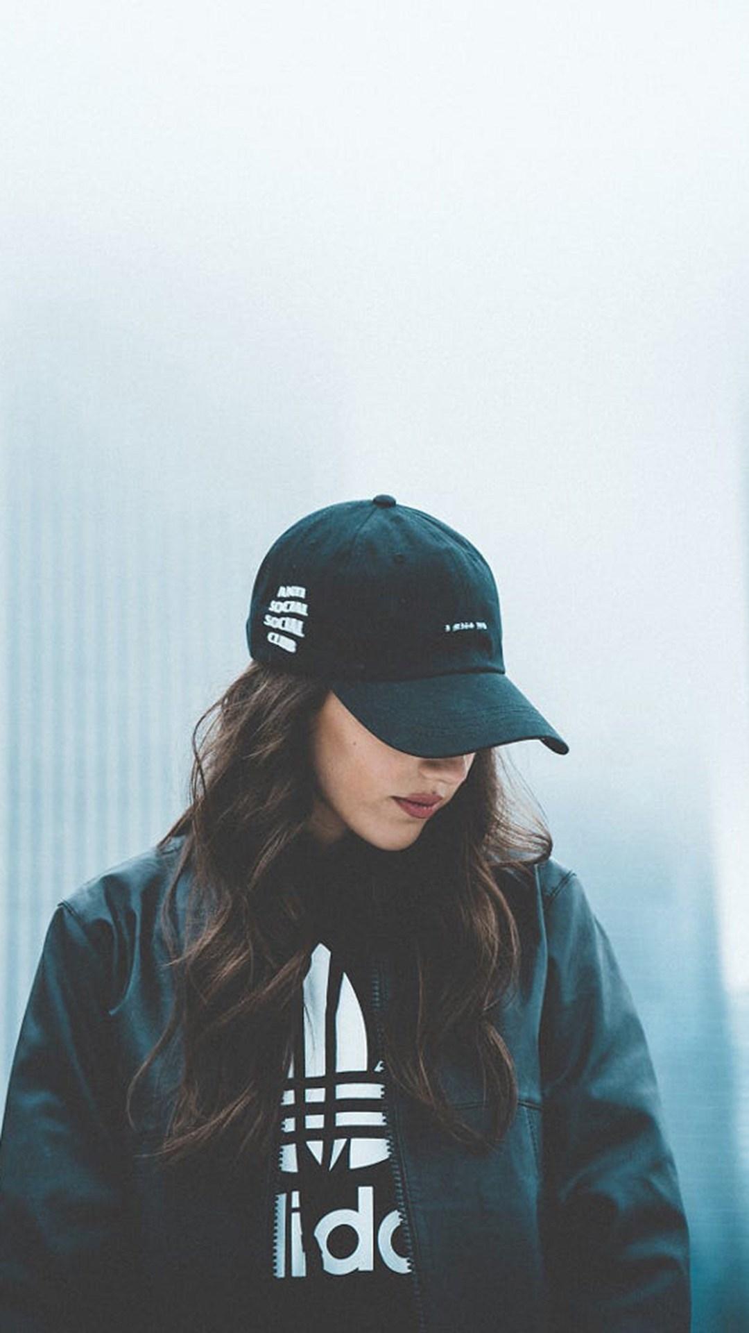帽子 美女 个性 犹豫 黑色 苹果手机高清壁纸 1080x