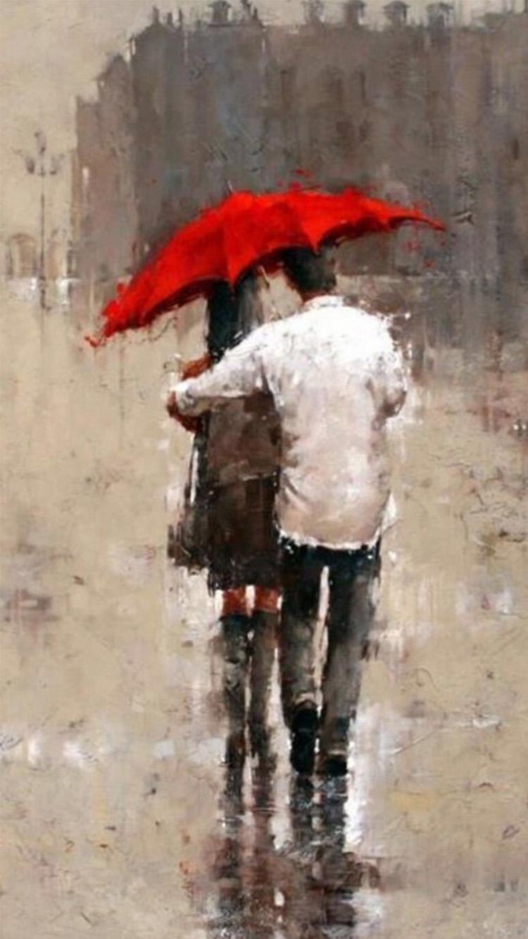 情侣 油画 手绘 下雨 打伞