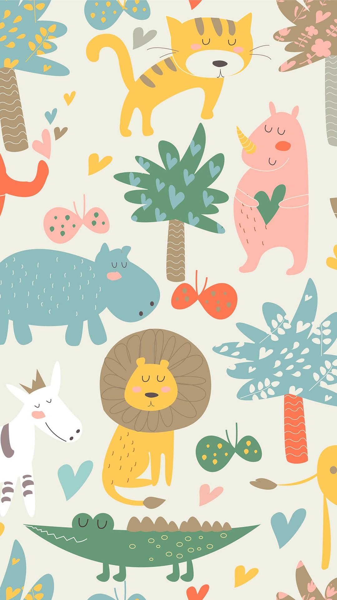 动物插画 平铺 树木 狮子 鳄鱼 河马 苹果手机高清 x
