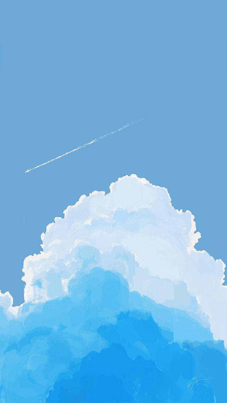 蓝天白云 手绘 漫画 蓝色