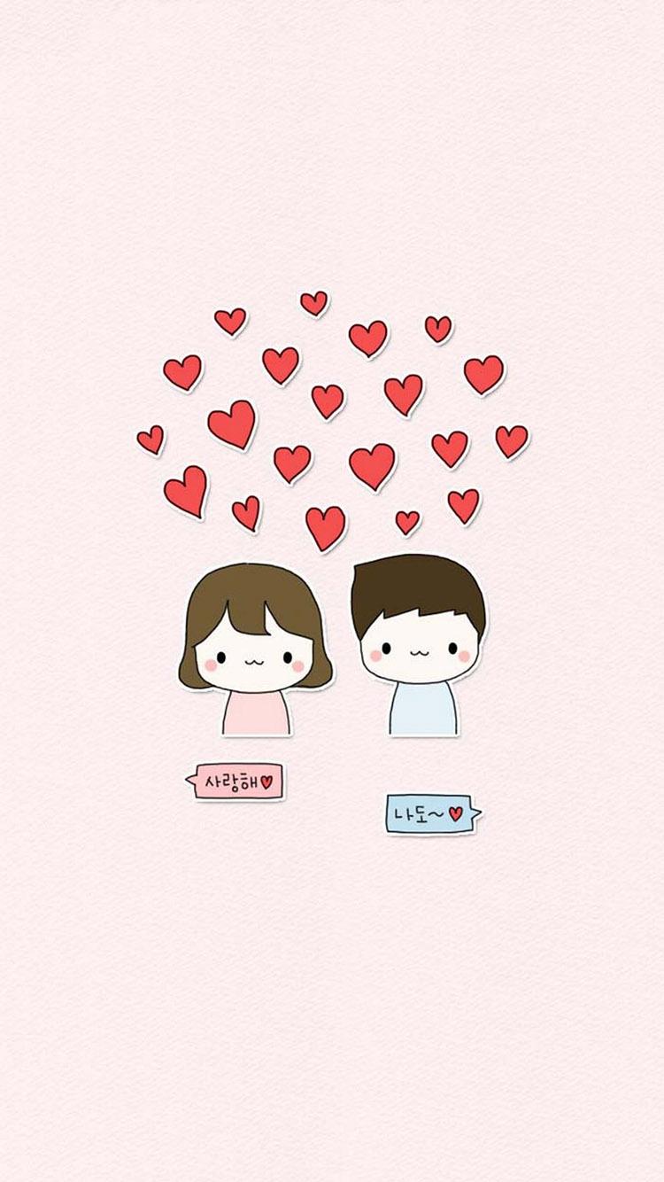 粉色背景 爱情 简约可爱卡通小情侣