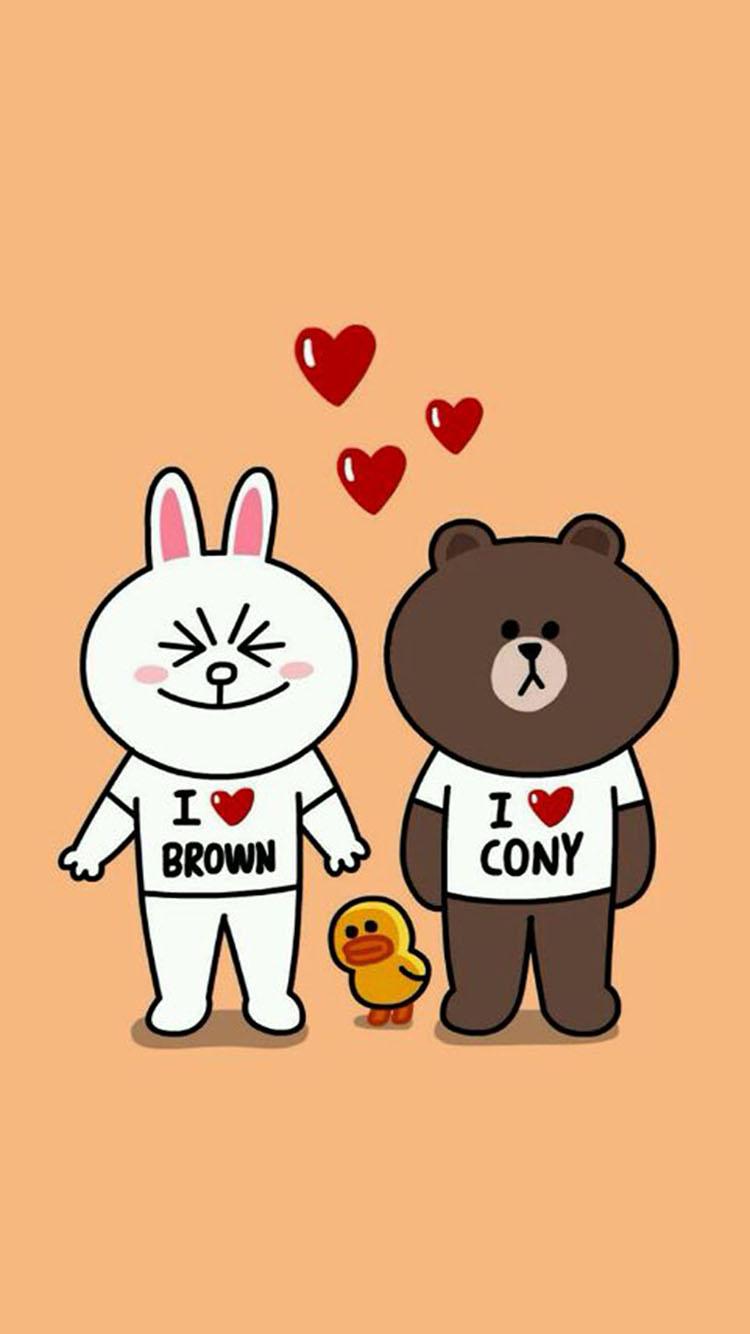 布朗熊可妮兔可爱情侣 苹果手机高清壁纸 750x1334