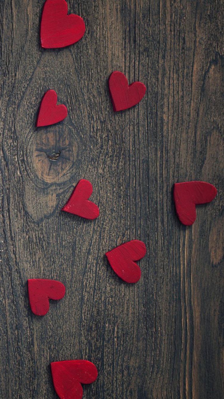 木板背景 可爱小爱心