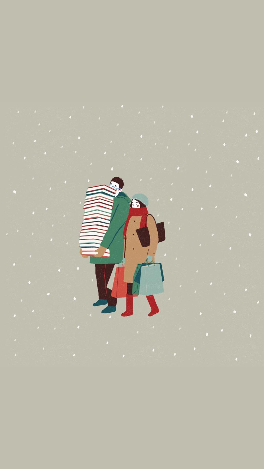 情侣 爱情 插画 手绘 苹果手机高清壁纸 1080x1920