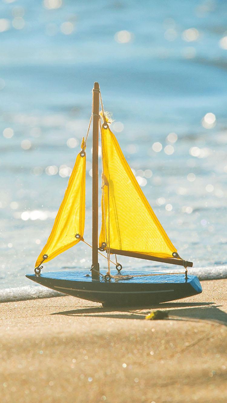 海鸥沙滩帆船