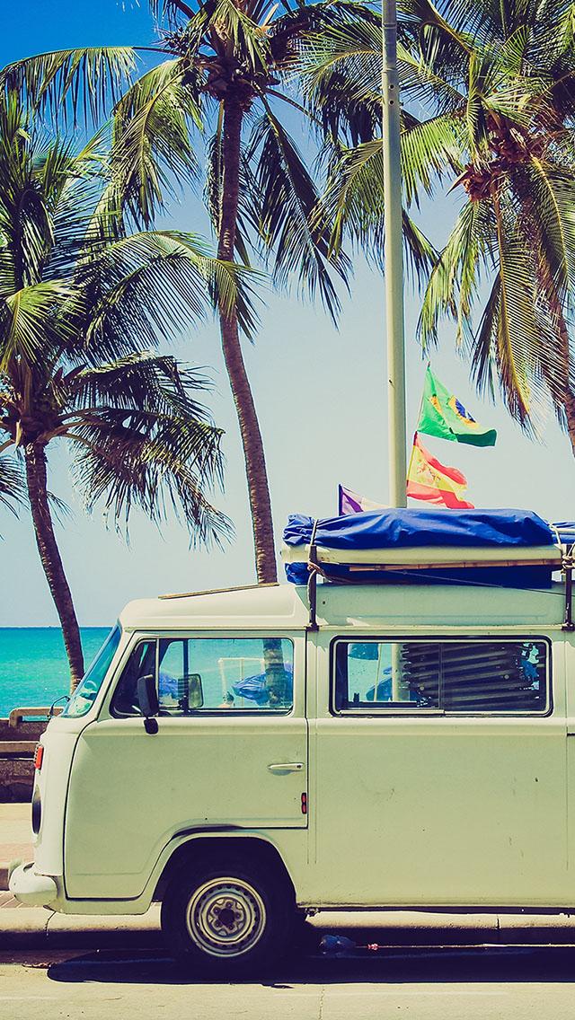 露营车 汽车 海边 椰子树 绿色 苹果手机高清壁纸 640